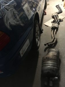 Original exhaust removed from car